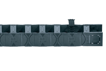 Series E4.31L, energy chain with crossbars every link, crossbars openable from both sides along inner and outer radius