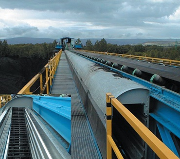 Coal bulk handling with a covered energy chain system®